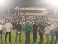 Acto de inauguración de la nueva lumínica del estadio Parque del Guaira.