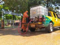 Bomberos Villarrica – K31 CBVP (Bomberos amarillo) están realizando tareas de desinfección de la ciudad