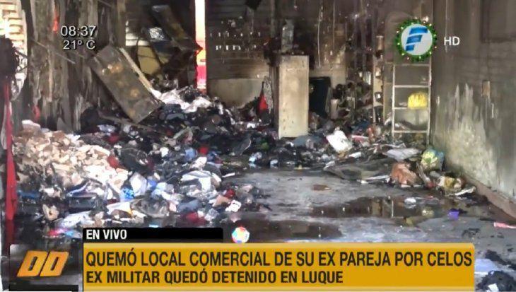Militar retirado incendia el local comercial de su ex pareja