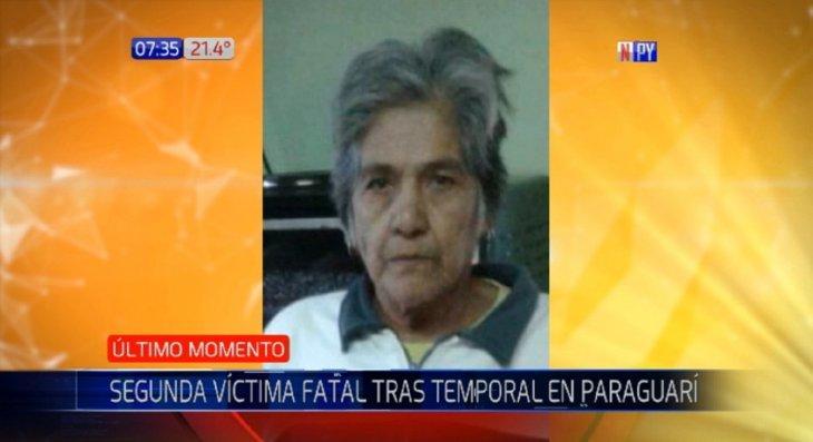 Una mujer de 68 años es la segunda víctima del temporal en Paraguarí