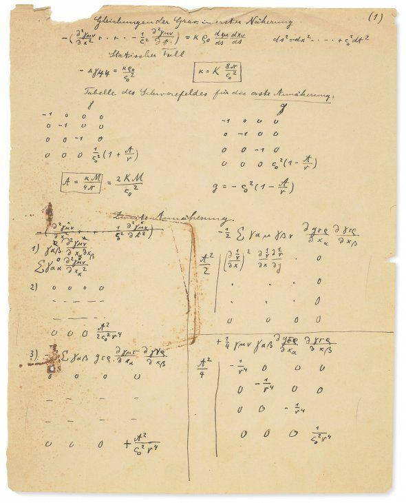 Se subasta manuscrito de Einstein sobre la teoría de la relatividad